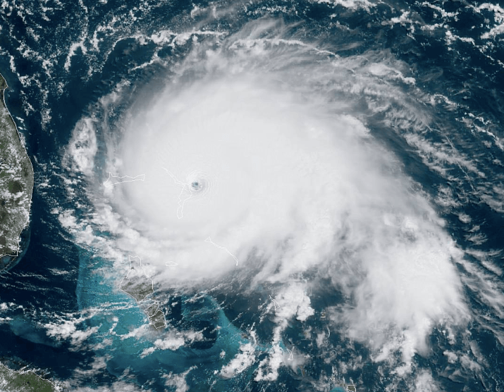 The eye of the storm of Hurricane Dorian over the Bahamas