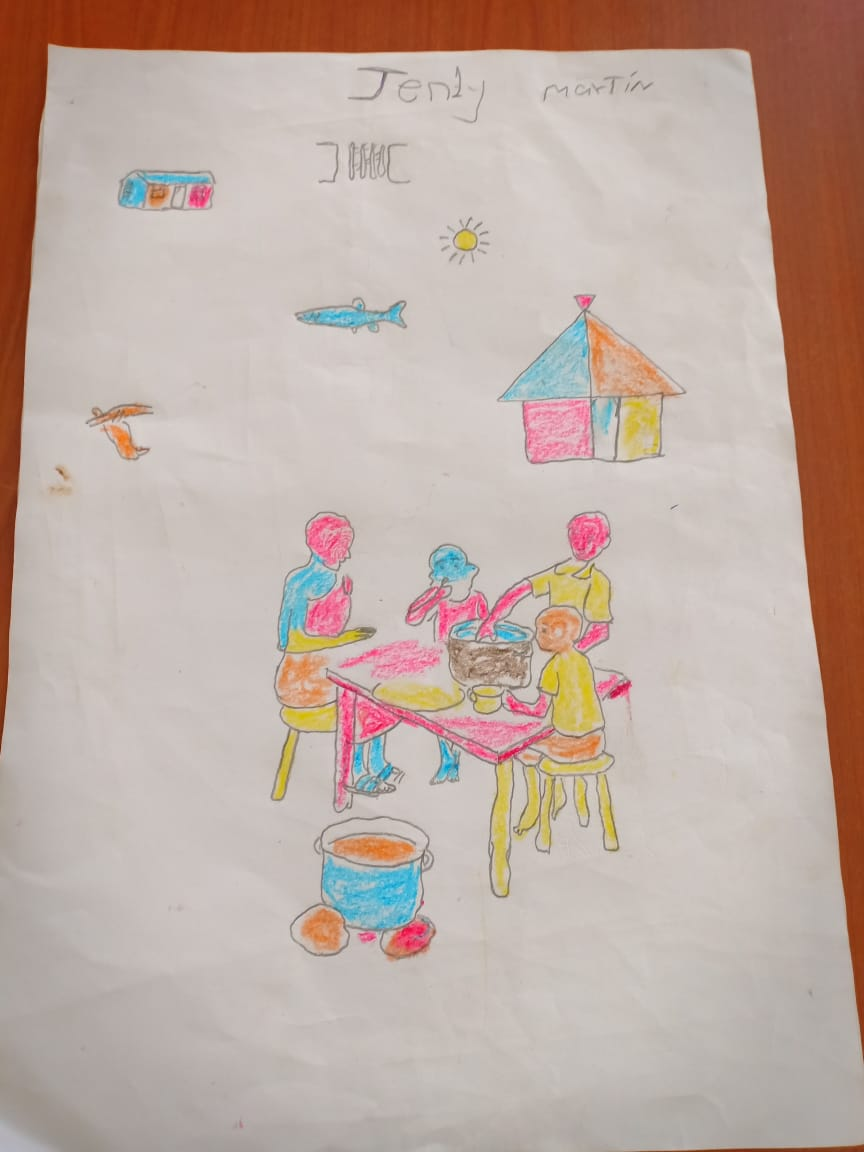 child in south sudans drawing