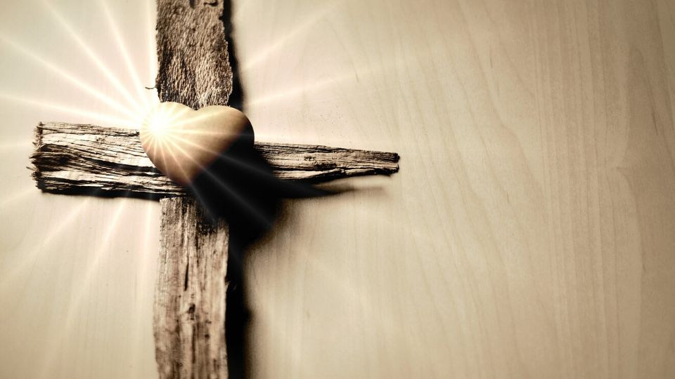 wooden cross with heart