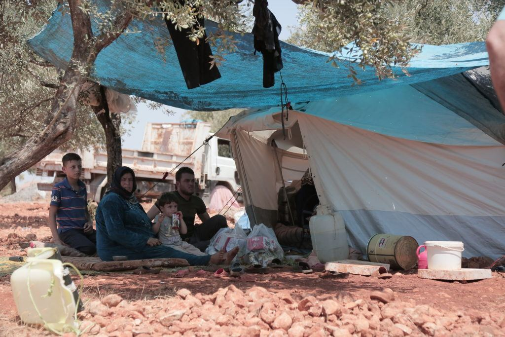 Internally displaced people living in tents under olive trees, with little to protect them from the elements