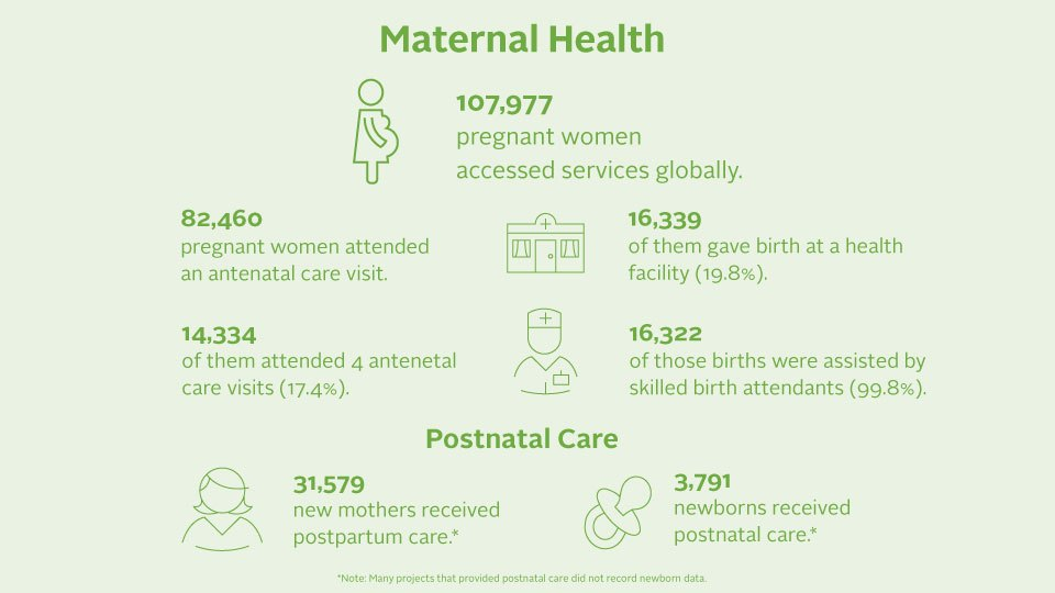An infographic of 2019 maternal health impact numbers.