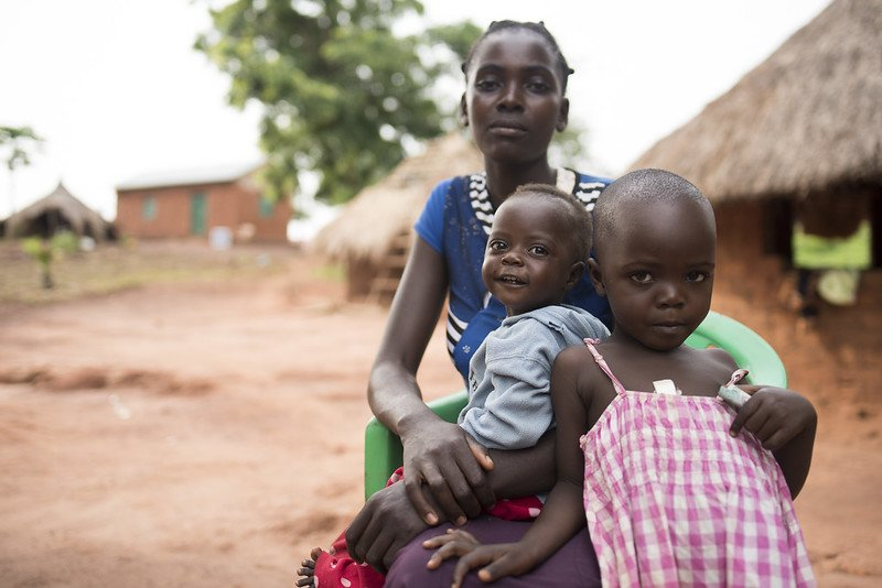 south sudan mother and children in village