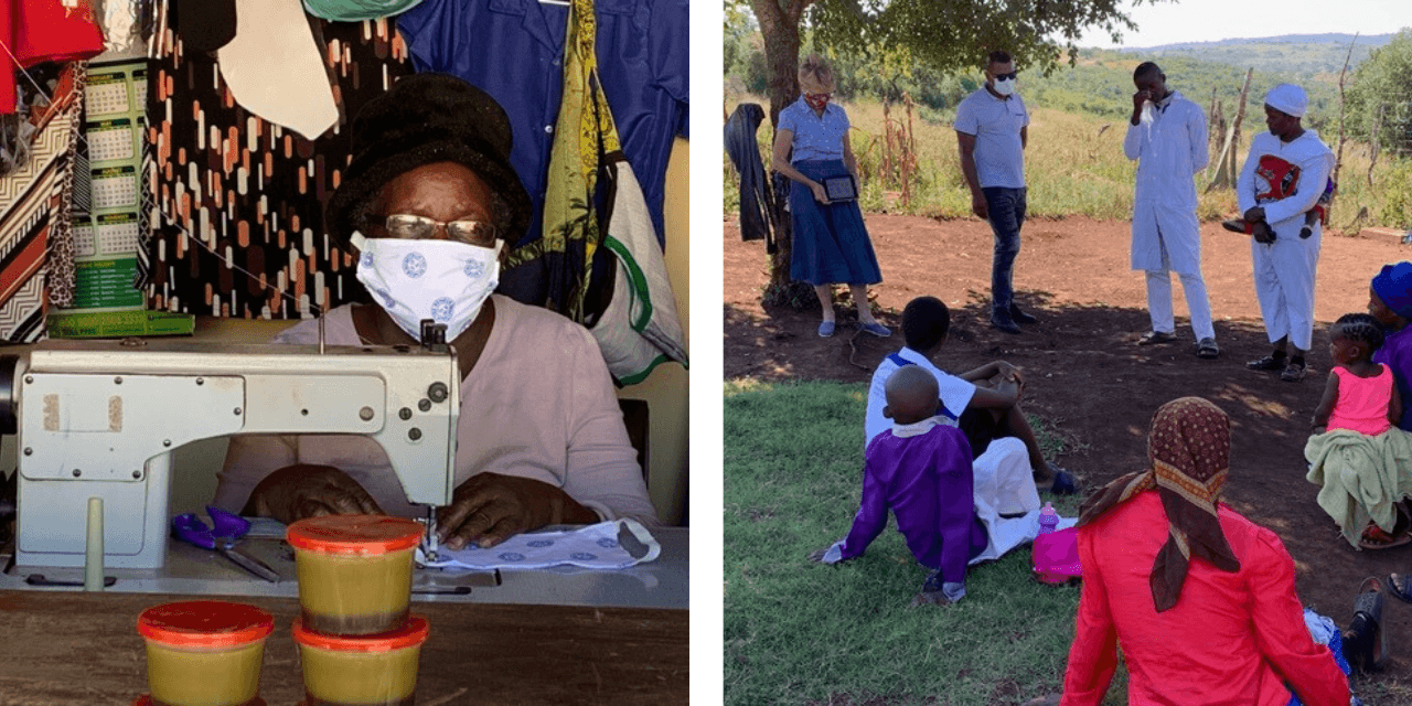 two photo collage: (left) Swazi woman sews protective masks (right) Kathleen Hartmann educates the community on Covid-19