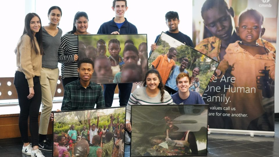 hunter students with child soldier photos