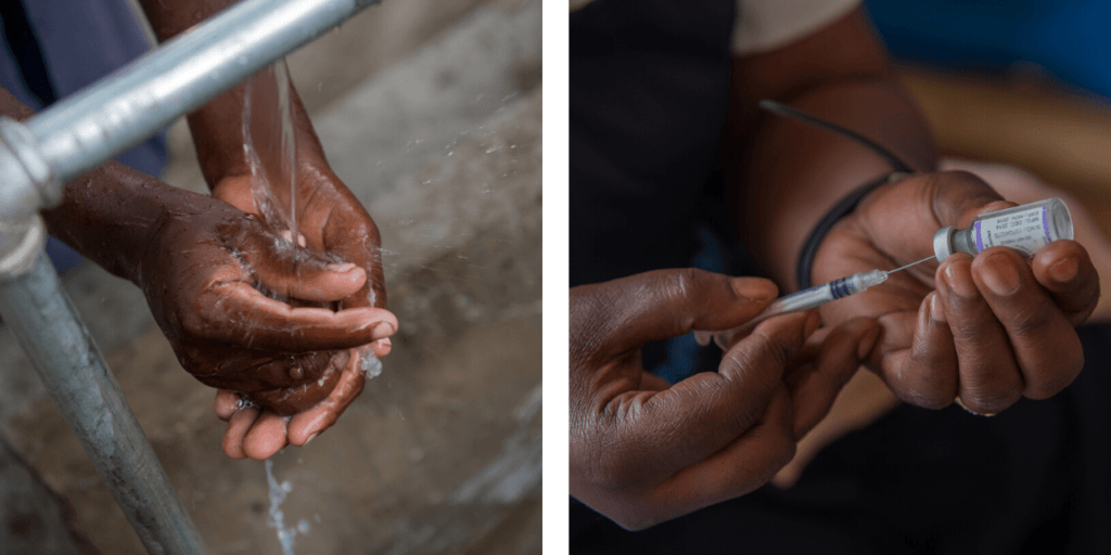 Two images: left, a person washes their hands. Right, a nurse prepares a vaccine