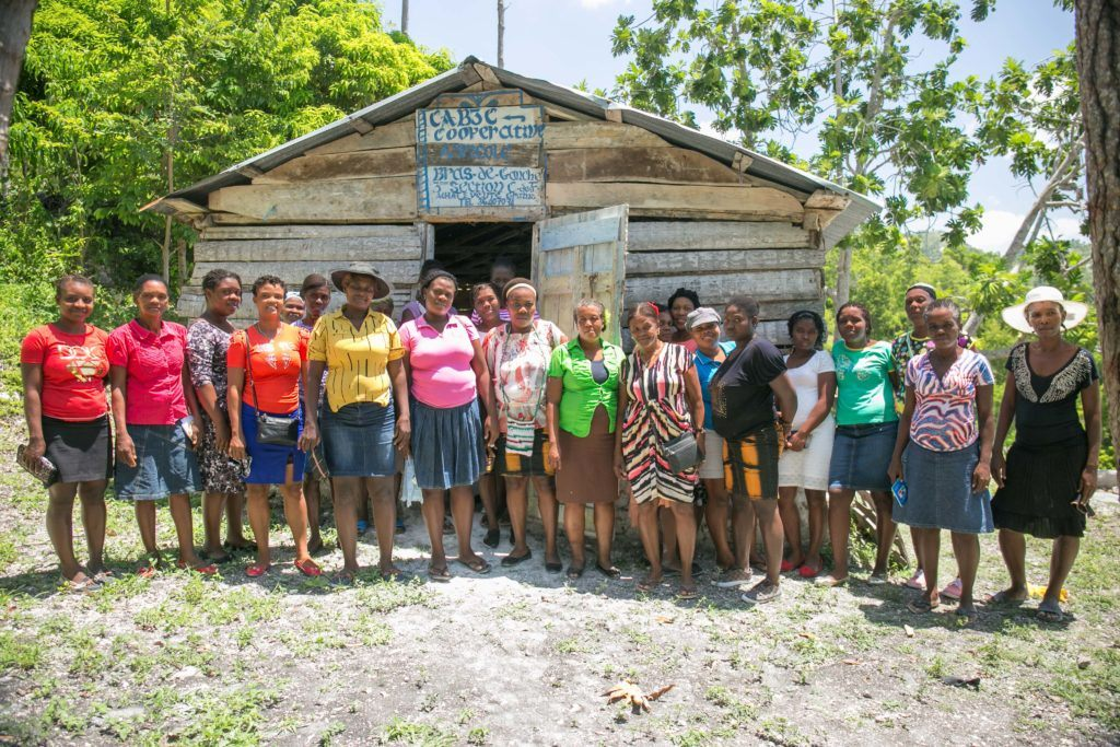womens group outside in haiti
