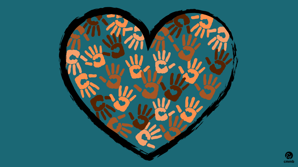 hand prints in different colors shaped in a heart