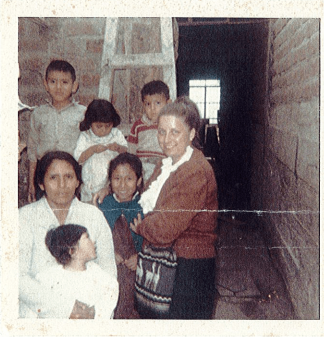 Pat with a local family, Peru 1967