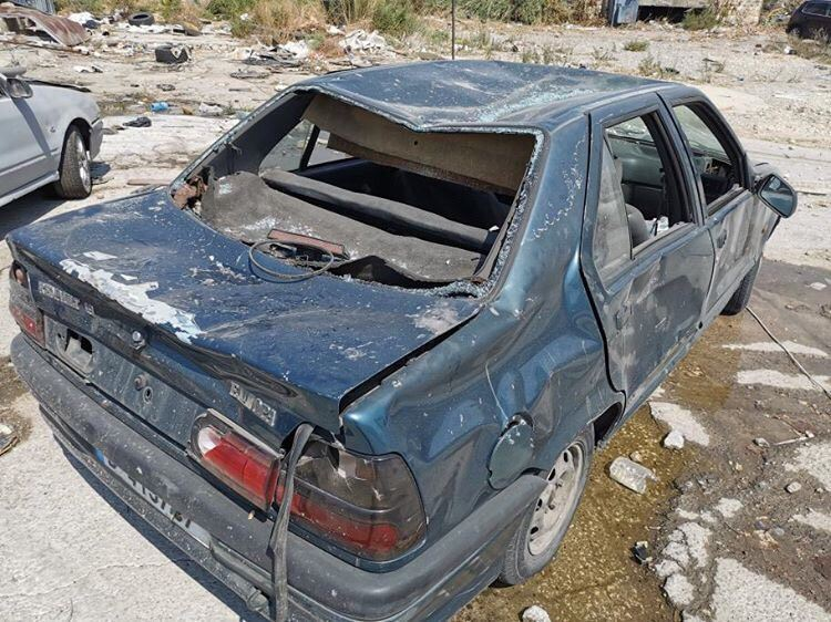 A car destroyed during the explosion in Beirut.