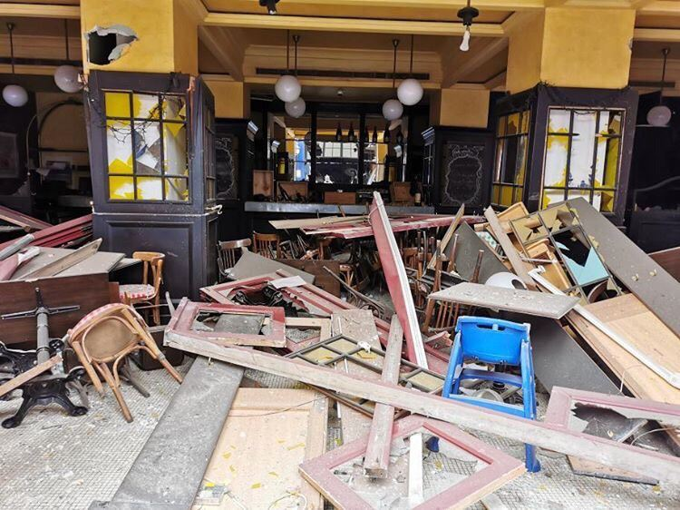 A restaurant damanged from the explosion in Beirut.