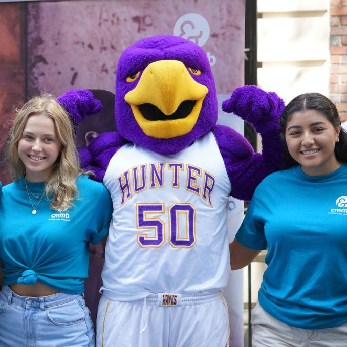Hunter College Students with Mascot in September 2019
