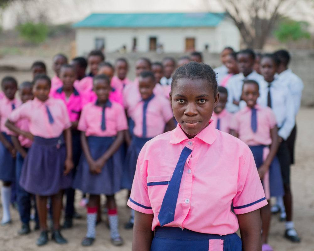 School Girls in Pink Uniorms in Mwandi, Zambia in October 2019
