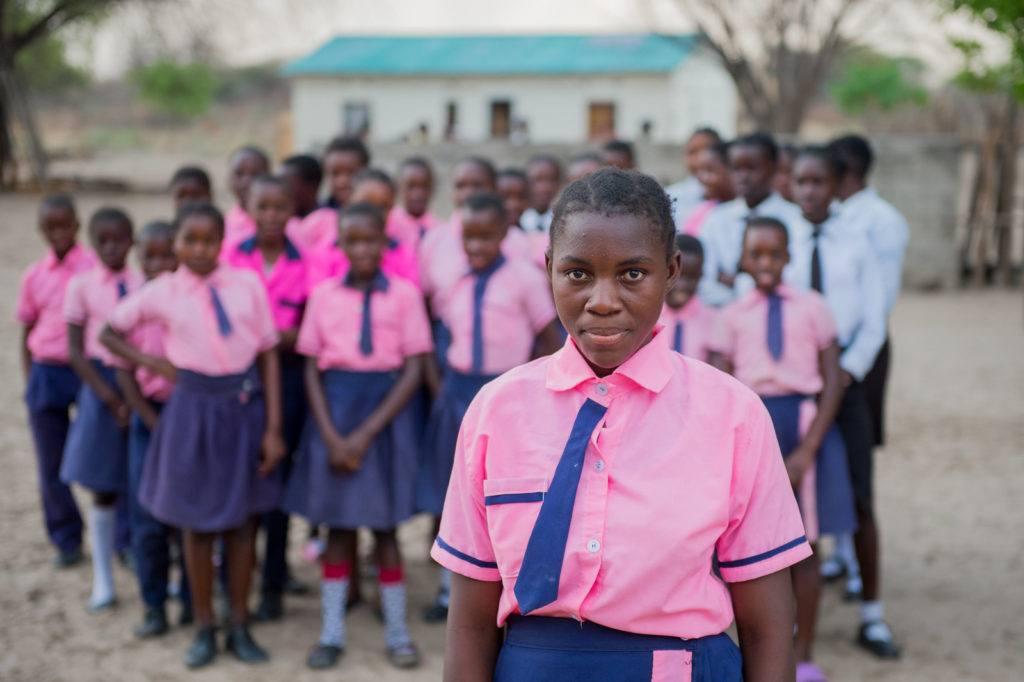 School Girls in Pink Uniorms in Mwandi, Zambia in October 2019