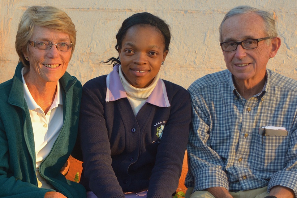 Volunteers Kathleen and Dr. Al Hartmann with nurse at Good Shepherd Hospital in Eswatini.