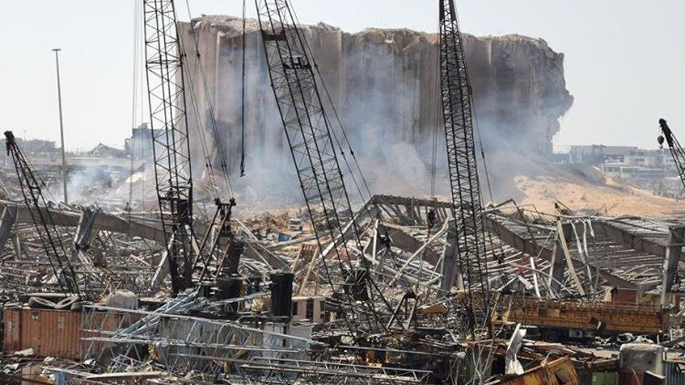 The aftermath of the Beirtu explosion at the port in August 2020.