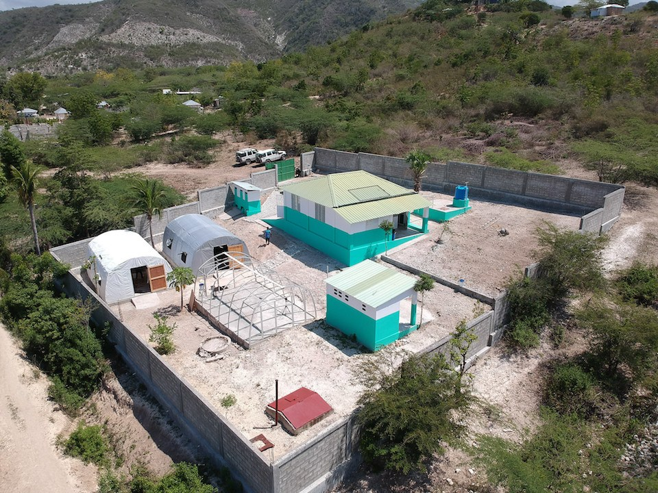 Aerial view of isolated COVID-19 treatment center in Haiti
