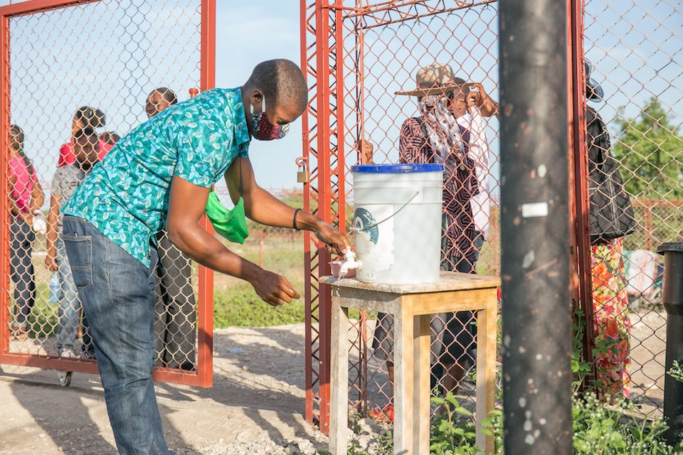 Handwashing station set up at BJSH in Haiti in July 2020