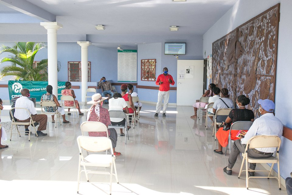 Social distancing being enforced at the BJSH in Haiti in July 2020