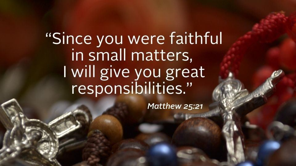 image with scripture from matthew for weekly reflection on November 15