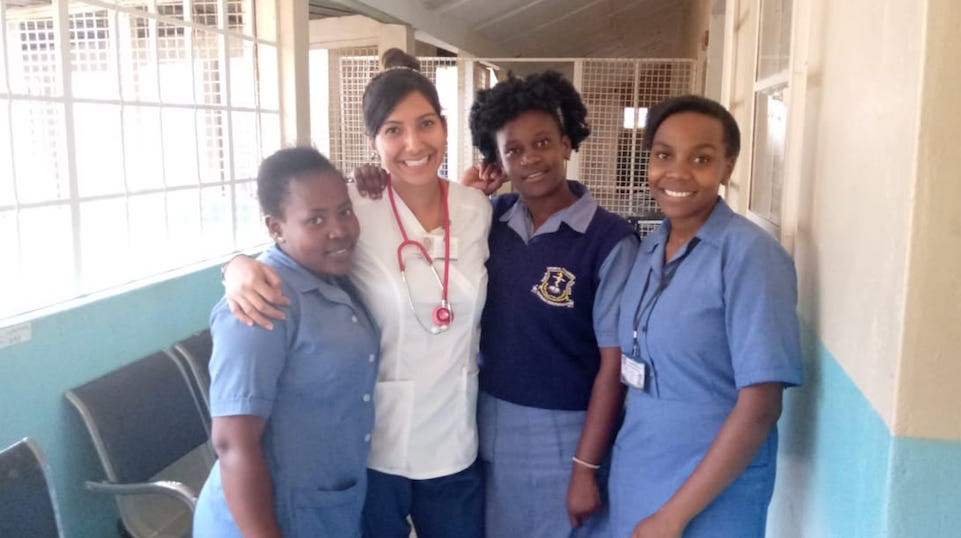 Samantha Hodge with staff at the mutomo mission hospital in Kenya in 2019