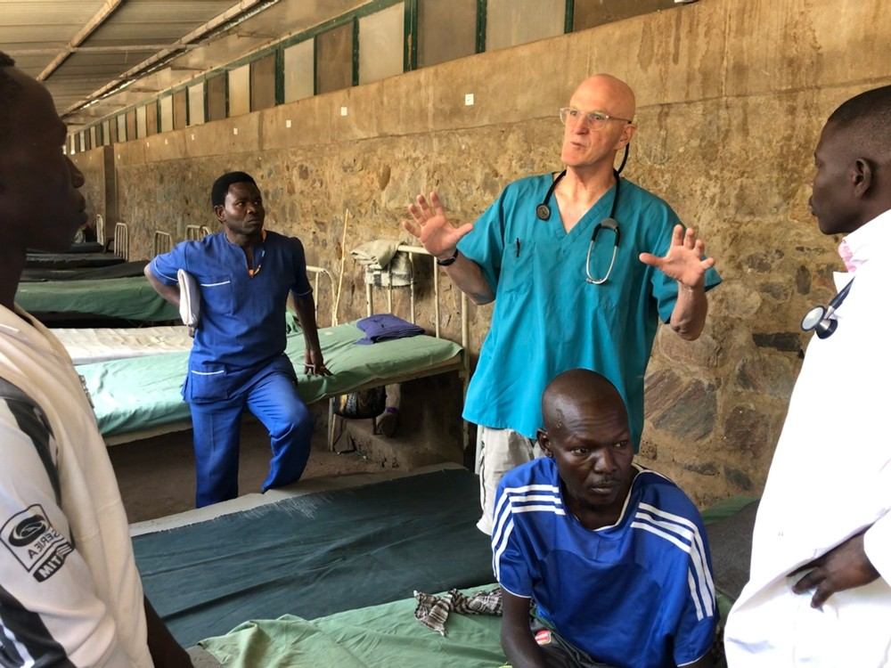 Volunteer Dr. Mike Pendleton at Mother of Mercy Hospital in Gidel, Sudan in March 2020.