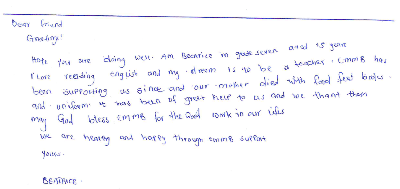 letter from beatrice in kenya