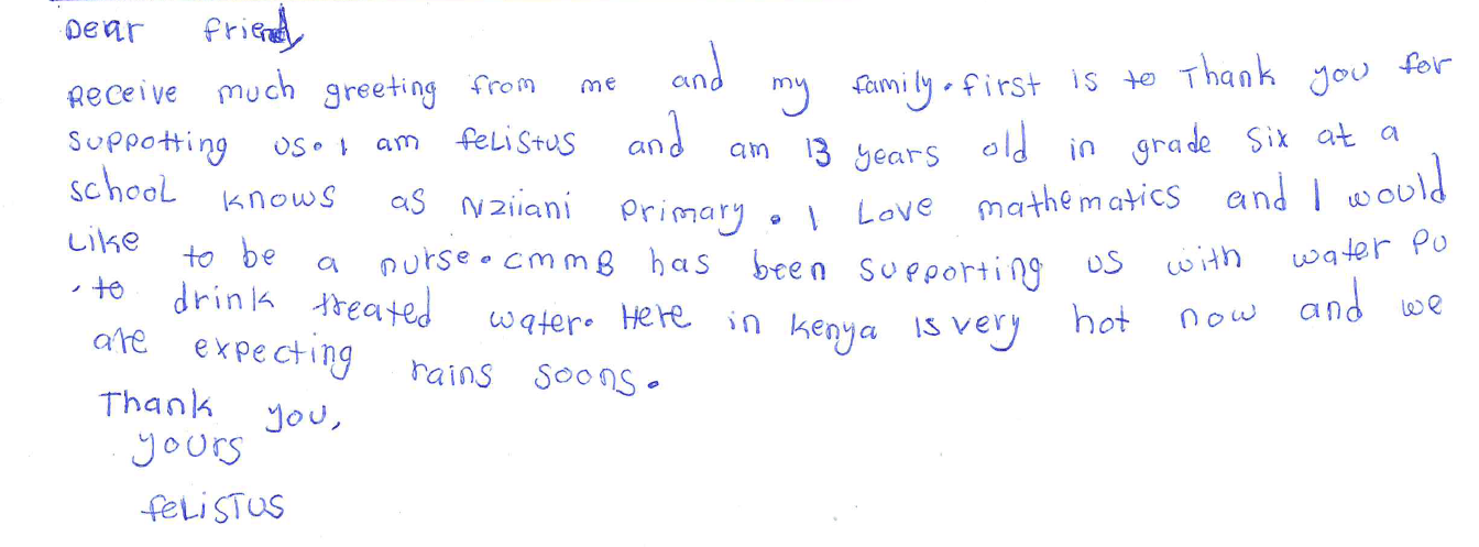 letter from felistus in kenya