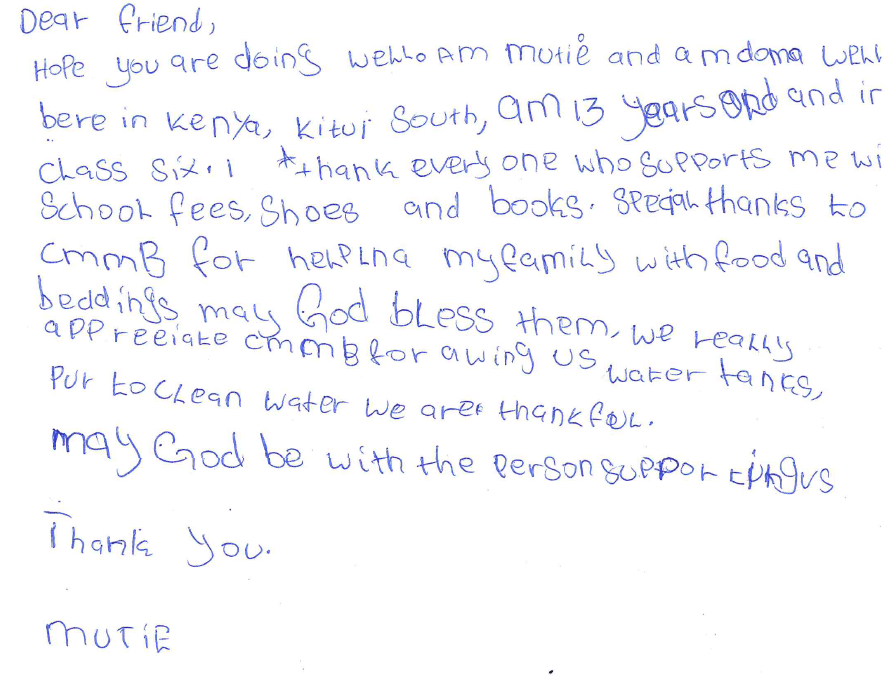 letter from mutie in kenya