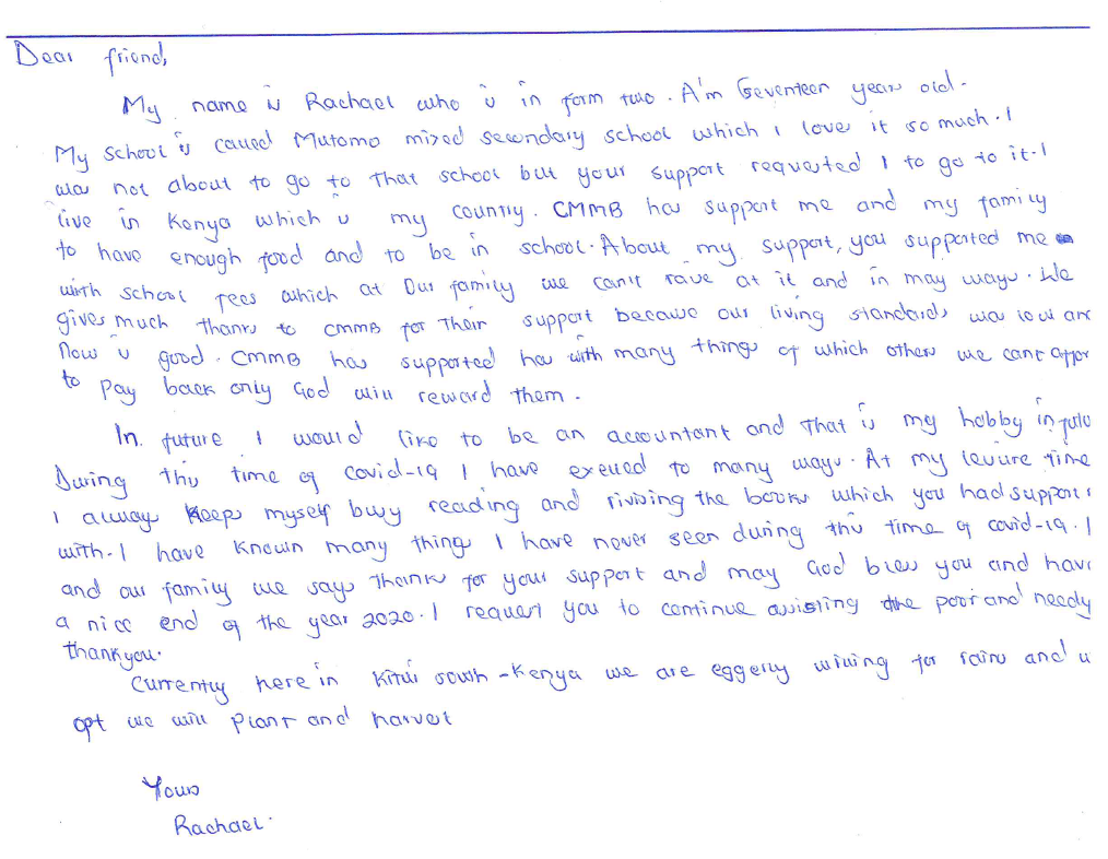 letter from rachel in kenya