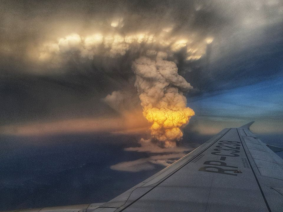 View of Taal Volcano eruption in the Philippines from airplane in January 2020.