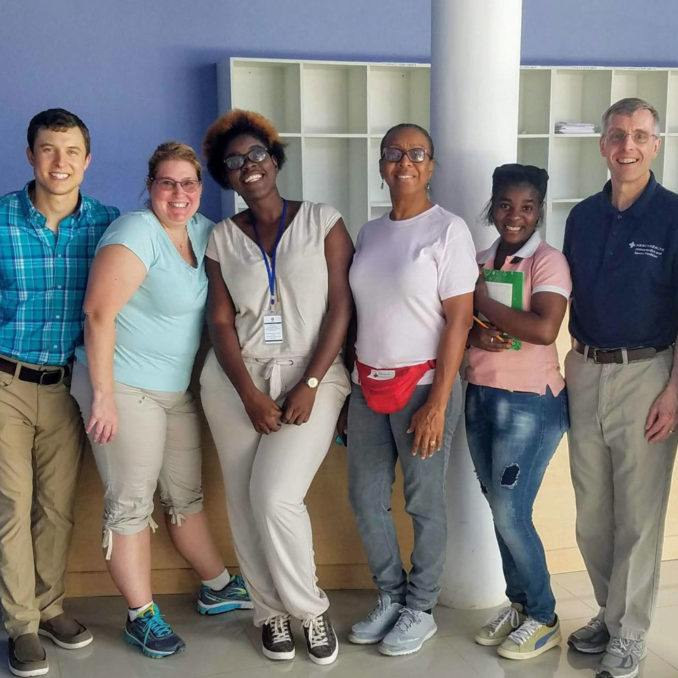 A team of volunteer healthcare professionals on medical mission trip in Cotes-de-Fer, Haiti at Bishop Joseph Sullivac Center for Health Hospital in May 2019.