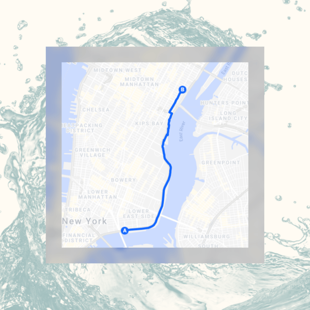 A map of the #Act4Water campaign route.