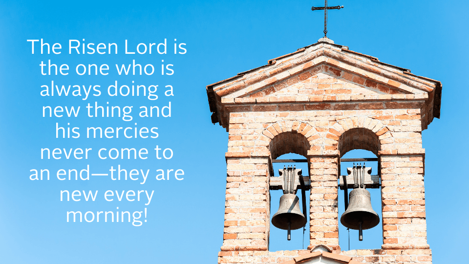 weekly reflection easter image with bells and quote
