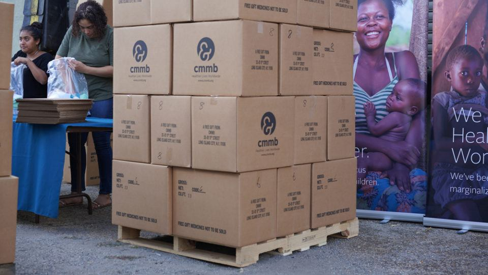 A pallet of boxes filled with medical donations from CMMB's Medical Donations Prgogram.