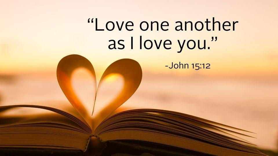 bible with pages in a heart
