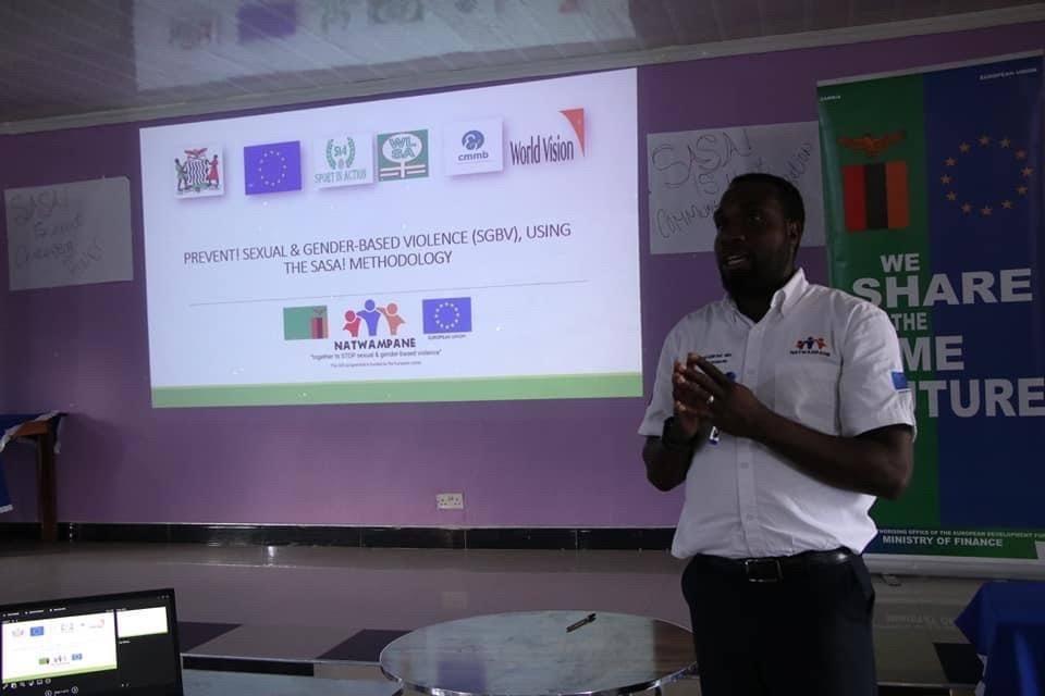 Henry Mshoka presents on gender based violence