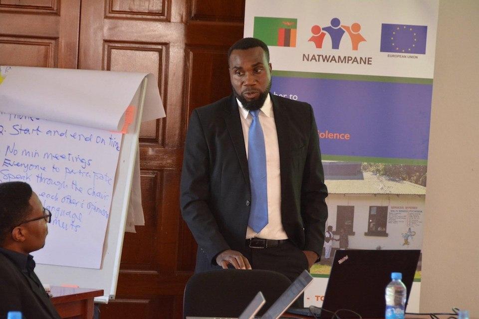 Henry Mshoka gives a presentation