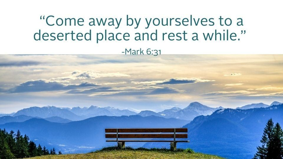 weekly reflection image with sunrise and bench and bible quote