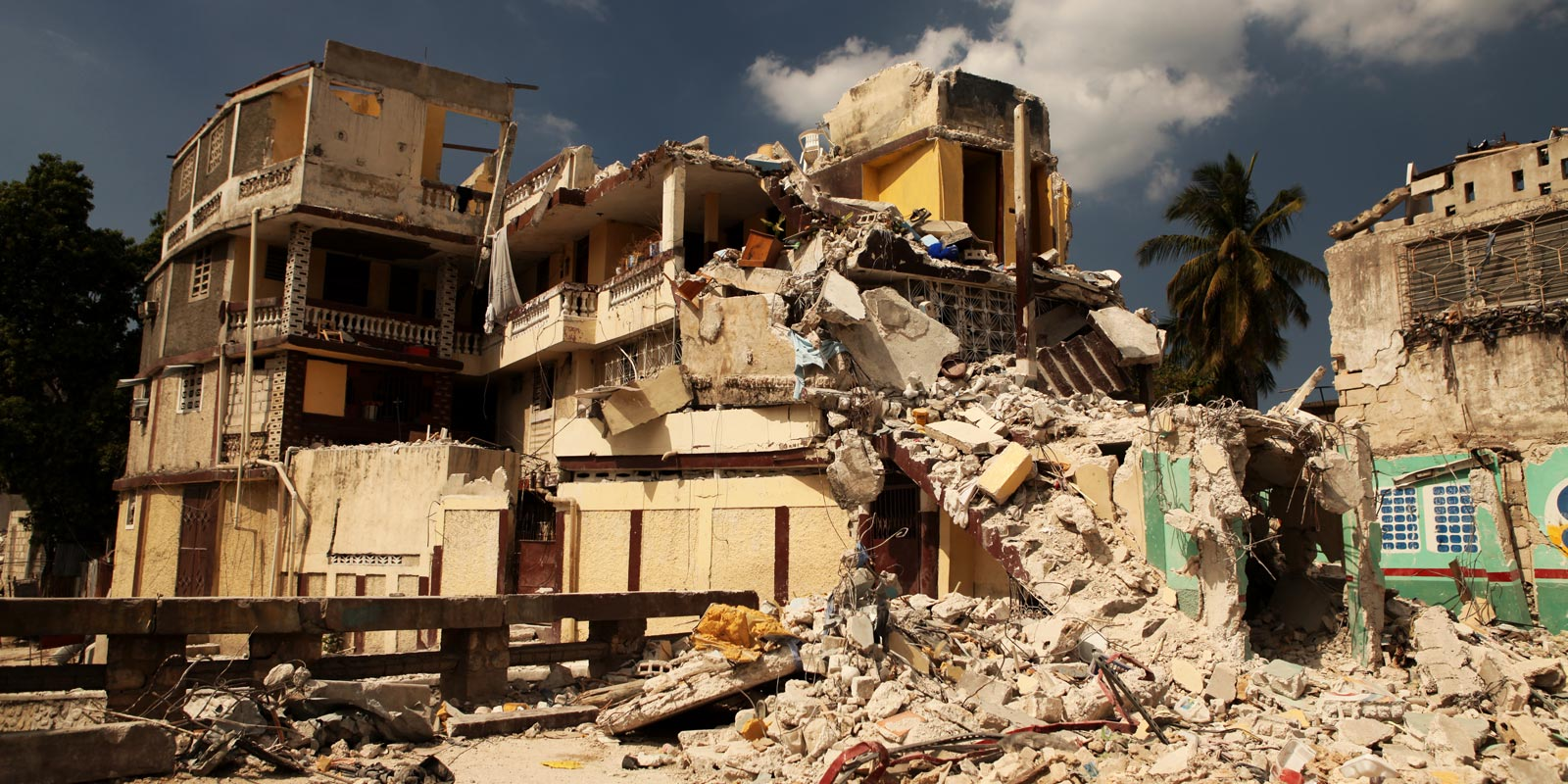 A building destroyed by the earthquake in Haiti in August 2021.