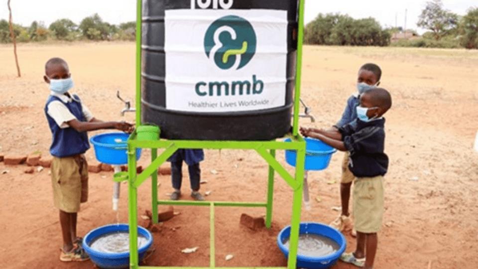 students washing hands in kenya