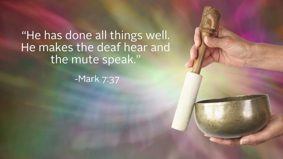 hand with singing bowl and bible quote