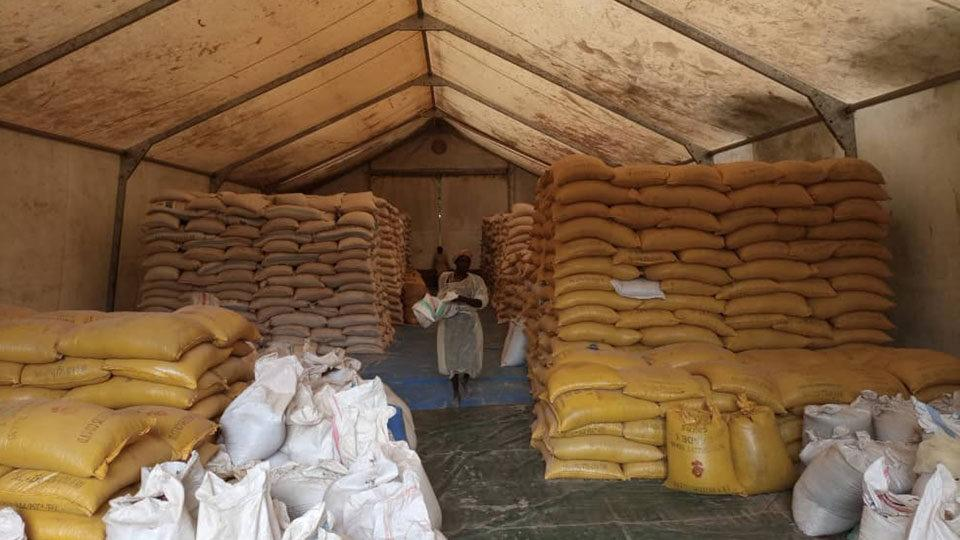 A tent of CMMB-provided food aid at Mother of Mercy Hospital in the Nuba Mountains, Sudan.