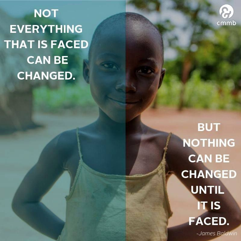 """Quote: """"Not everything that is faced can be change, but nothing can be changed until it is faced."""""""