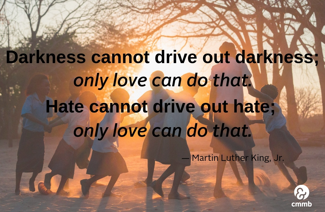 Darkness cannot drive out of darkness: only love can do that.