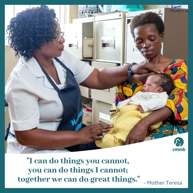 """Doctor, mother and baby. Quote: """"I can do things you cannot, you can do things I cannot; together we can do great things."""" Mother Teresa"""