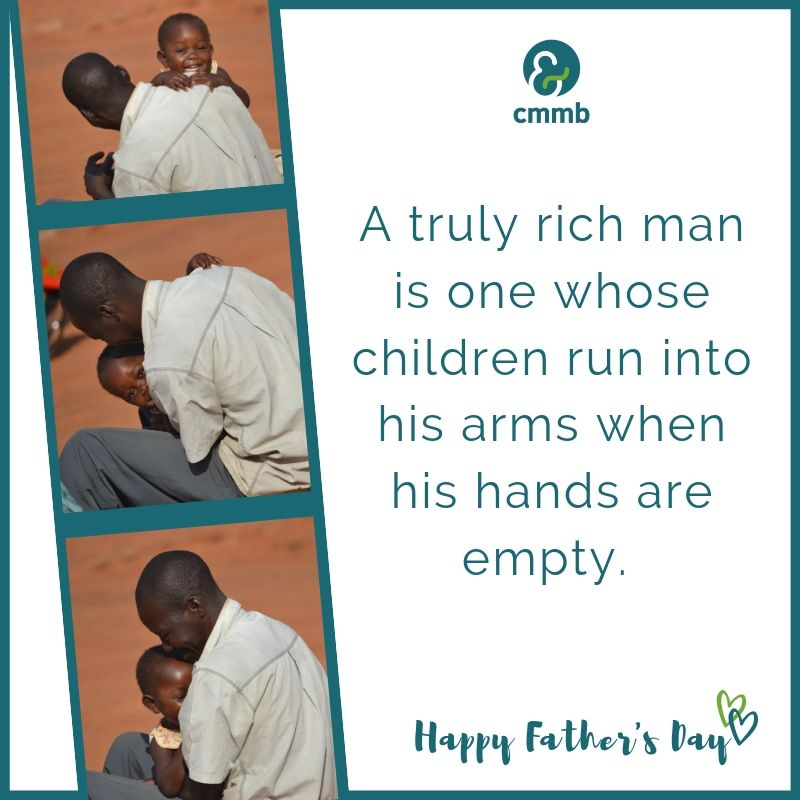 Father playing with child. Quote: A truly rich man is one whose children run into his arms when his hands are empty. Happy Father's Day