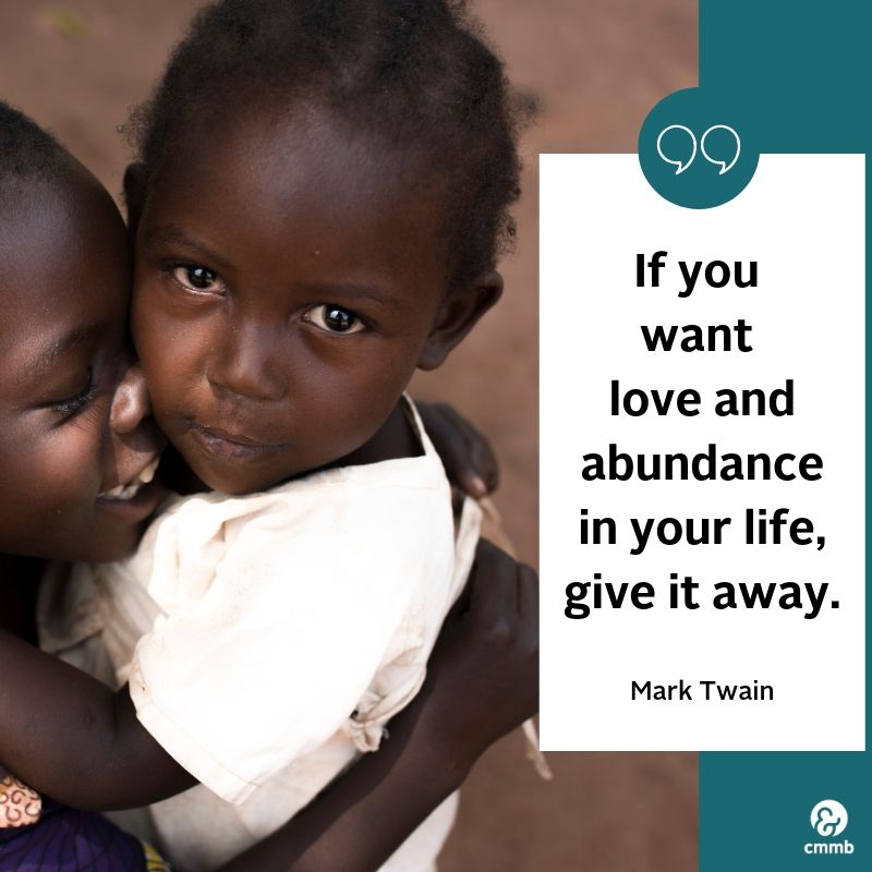 """Children hugging. Quote: """"If you want love and abundance in your life, give it away."""" Mark Twain"""
