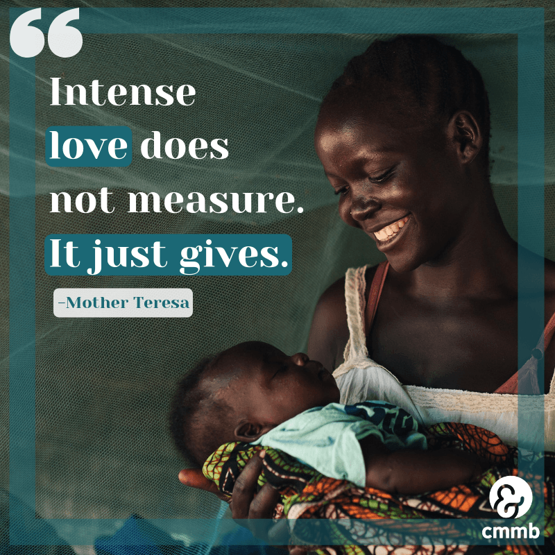 """Mom from South Sudan looking her baby. Quote: """"Intense love does not measure. It just gives."""" Mother Teresa"""