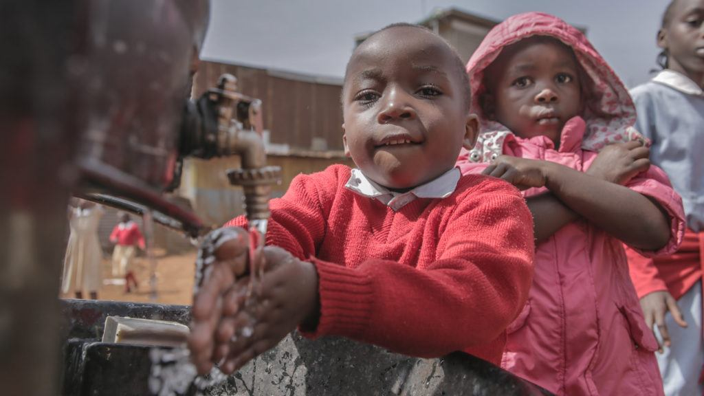 about water, Children with access to clean water