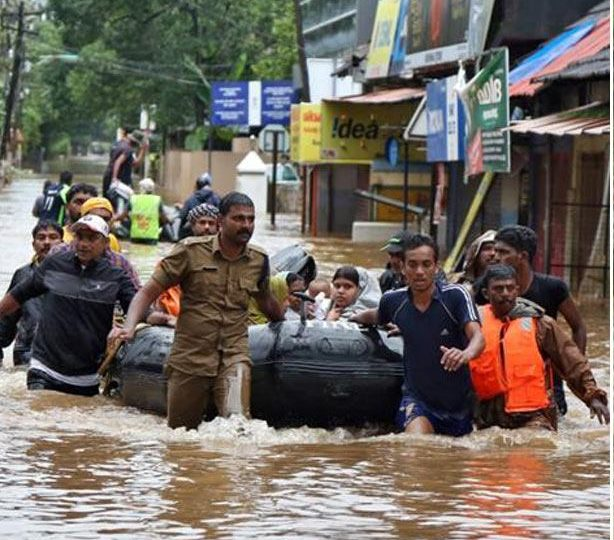Photo of people in Kerala after the floods.